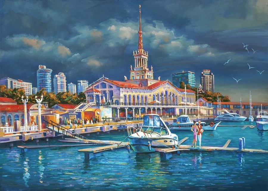 i like to depict architectural landscape beloved city sochi berth seaport sochi author nikolay siven
