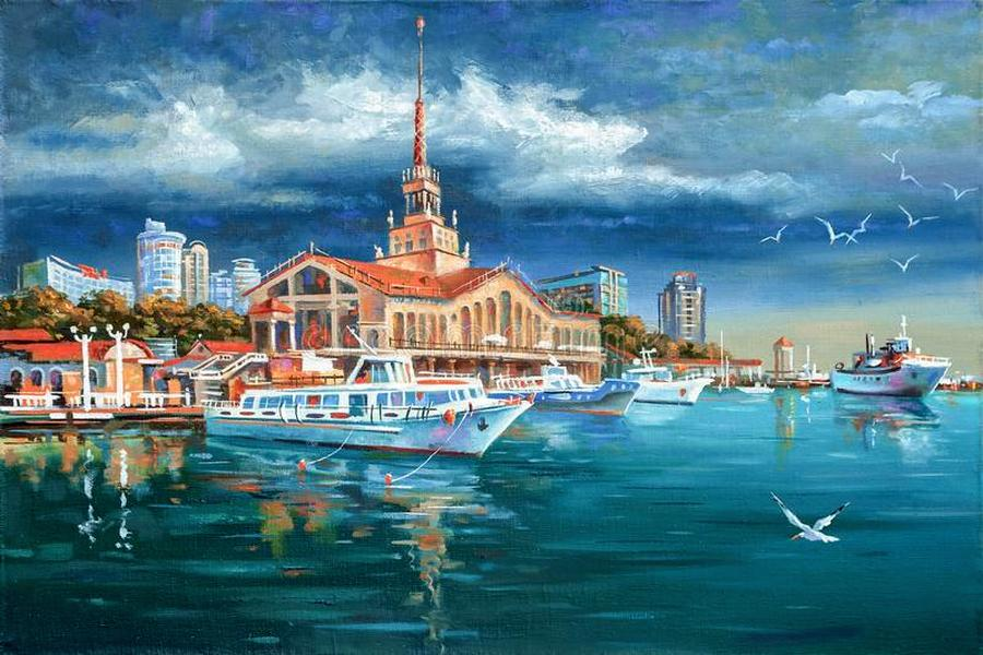 i like to depict architectural landscape beloved city sochi calm seaport author nikolay sivenkov 118