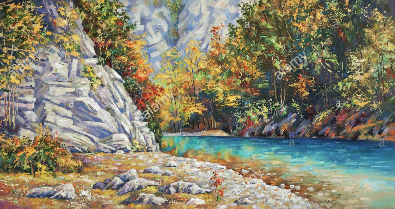 late autumn on the river khosta mountain landscape of sochi national park painting canvas oil author