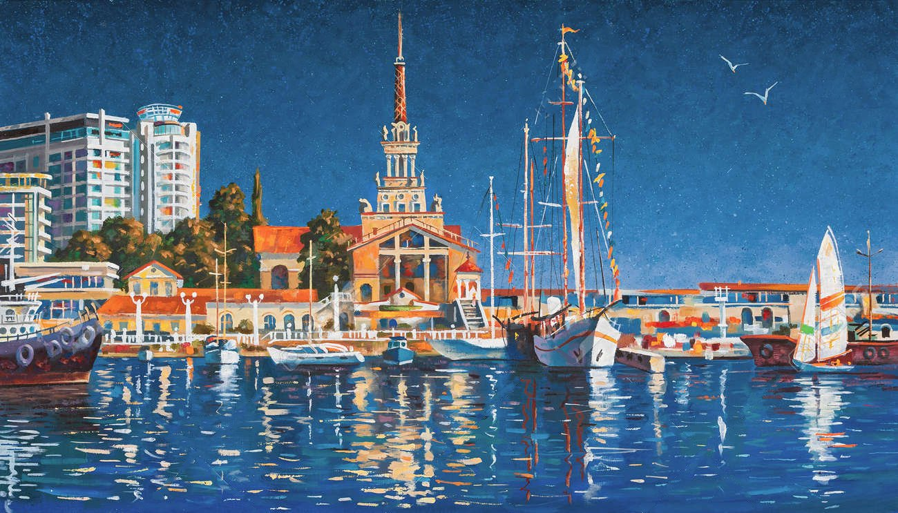 103110459 yachts on the background of the seaport of sochi on a clear day painting canvas oil