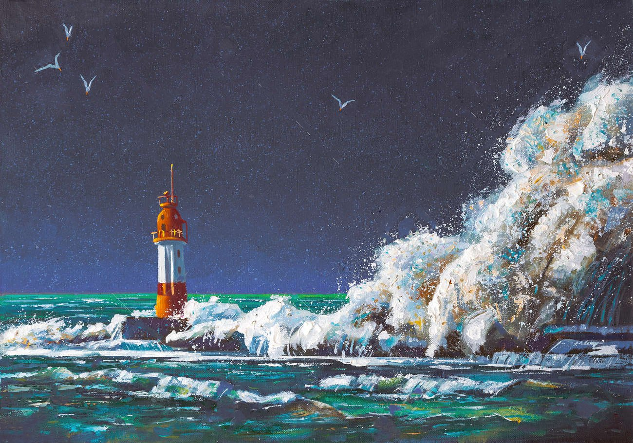 103148087 aa large squall of wave envelopes the lighthouse during the storm painting canvas oil
