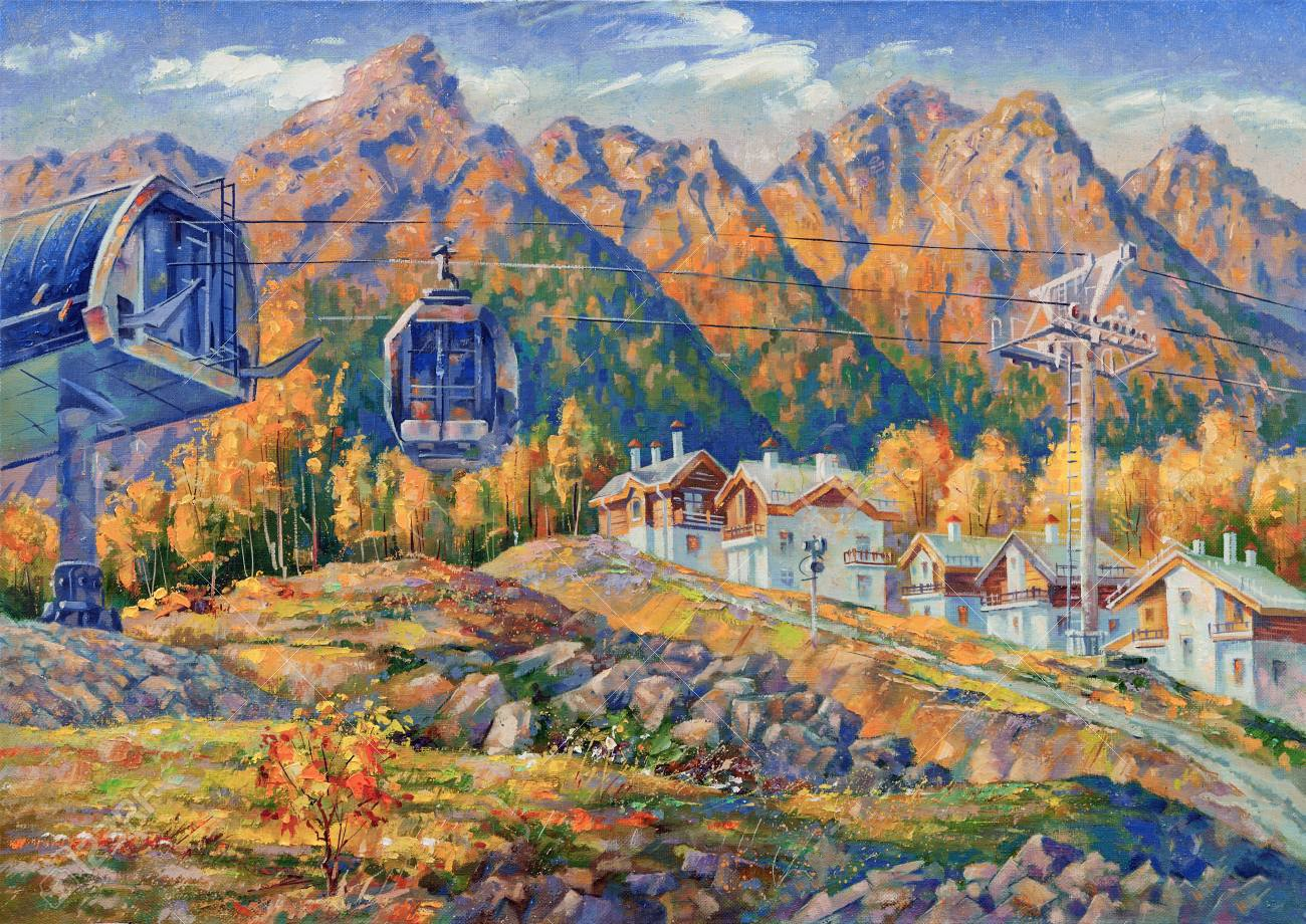 The picturesque canvas depicts the ski resort of Rosa Khutor in the late autumn. Against the backdro