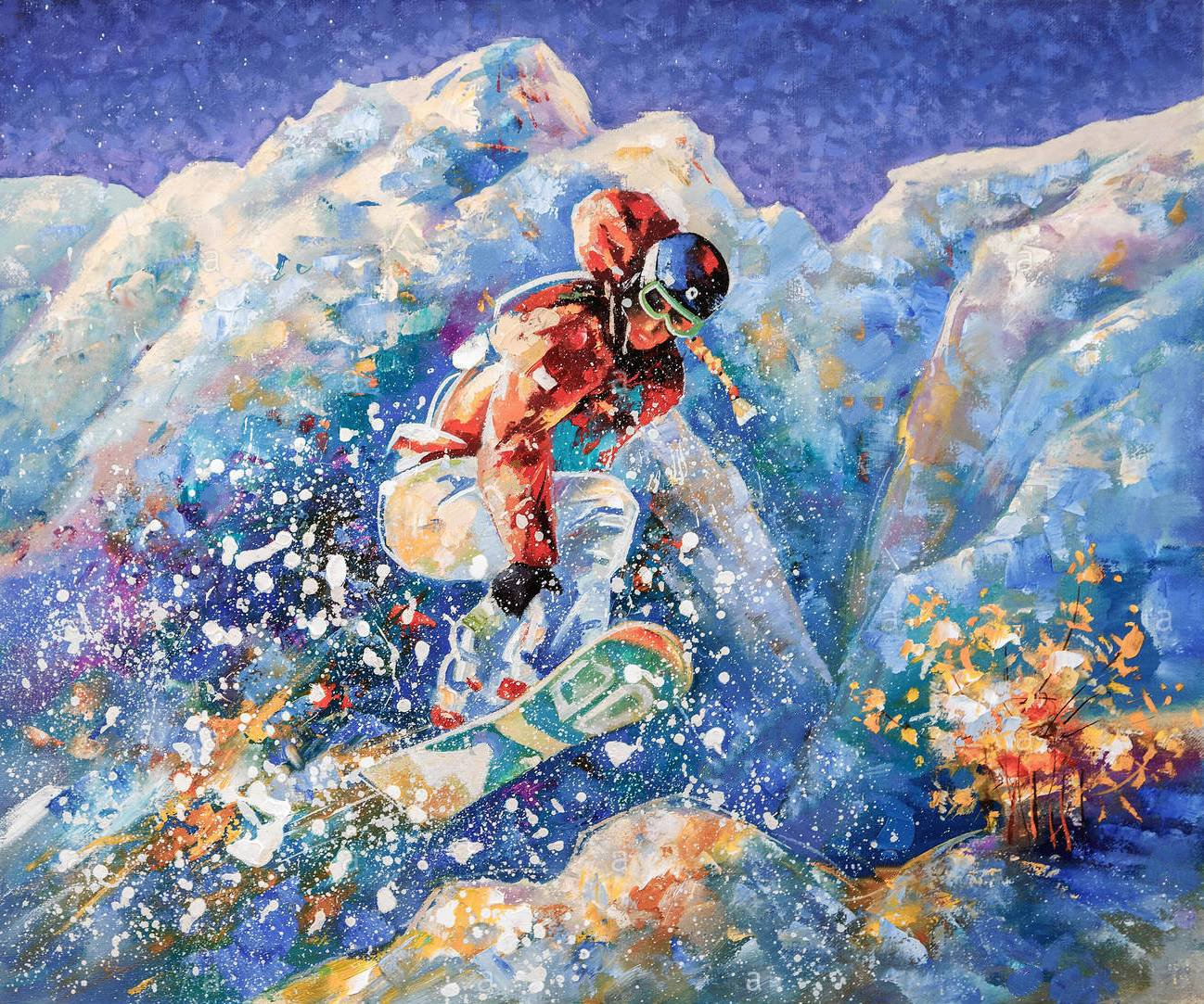 artwork girl snowboarder conquers mountain peaks author nikolay sivenkov PD1PKM