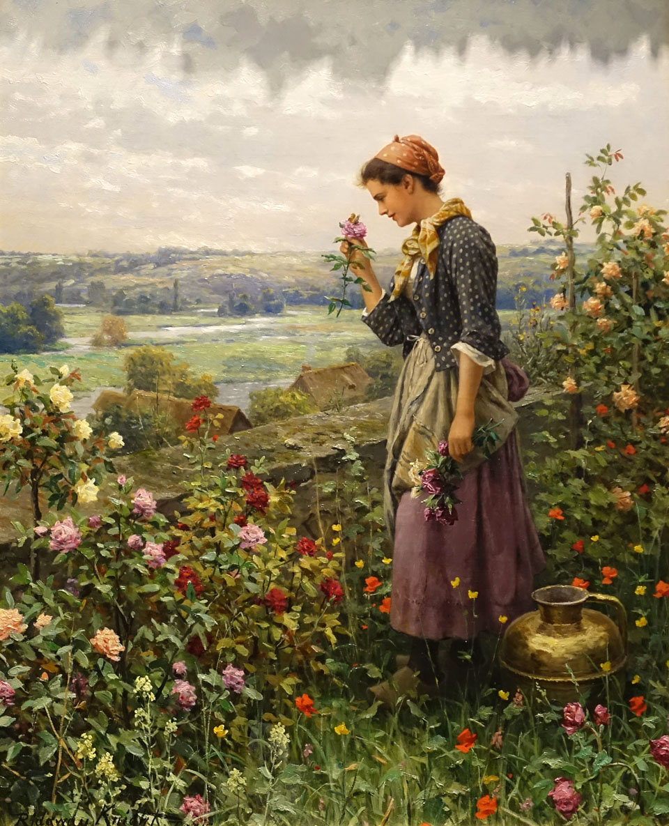 Maiden_Picking_Flowers_by_Daniel_Ridgway_Knight_c._1890_oil_on_canvas_-_Currier_Museum_of_Art_-_Manchester_NH_-_DSC07353.jpg