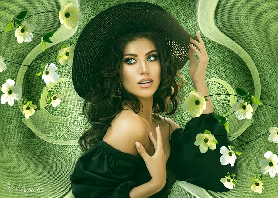 весенние цветы девушка в черной шляпе