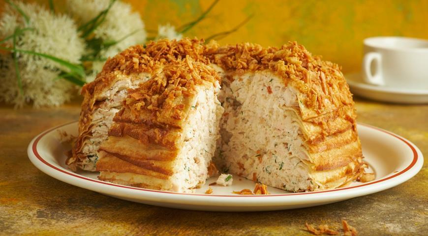 Блинный пирог с курицей1