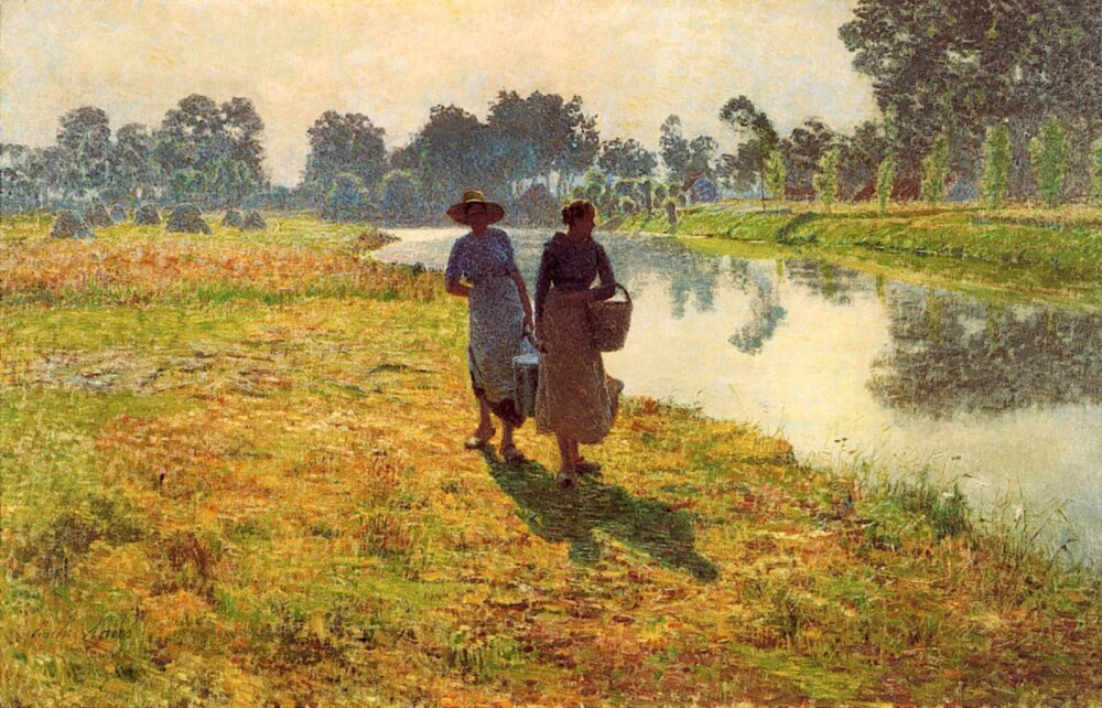 Emile-Claus-Young-peasant-women-at-the-leie-1887
